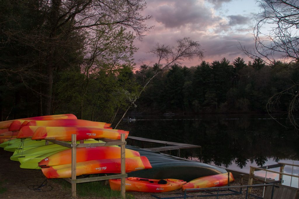 Colorful kayaks on Mirror Lake - Mirror Lake State Park, Baraboo WI